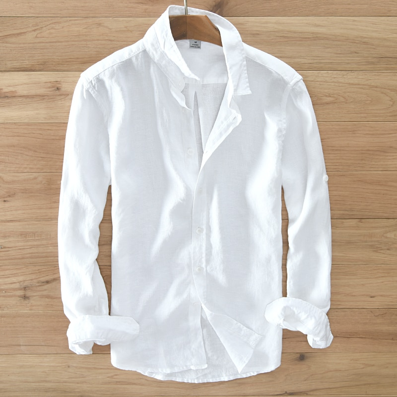 Men's 100% pure linen long-sleeved shirt men brand clothing men shirt S-3XL 5 colors solid white shirts men camisa shirts mens selected men s 100% cotton slim fit embroidered long sleeved shirt s 419305564