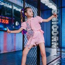 Kids Pink Suit Short-Sleeved Sequined Shirt Shorts Jazz Dance Costumes For Girls Hip Hop Dance Rave