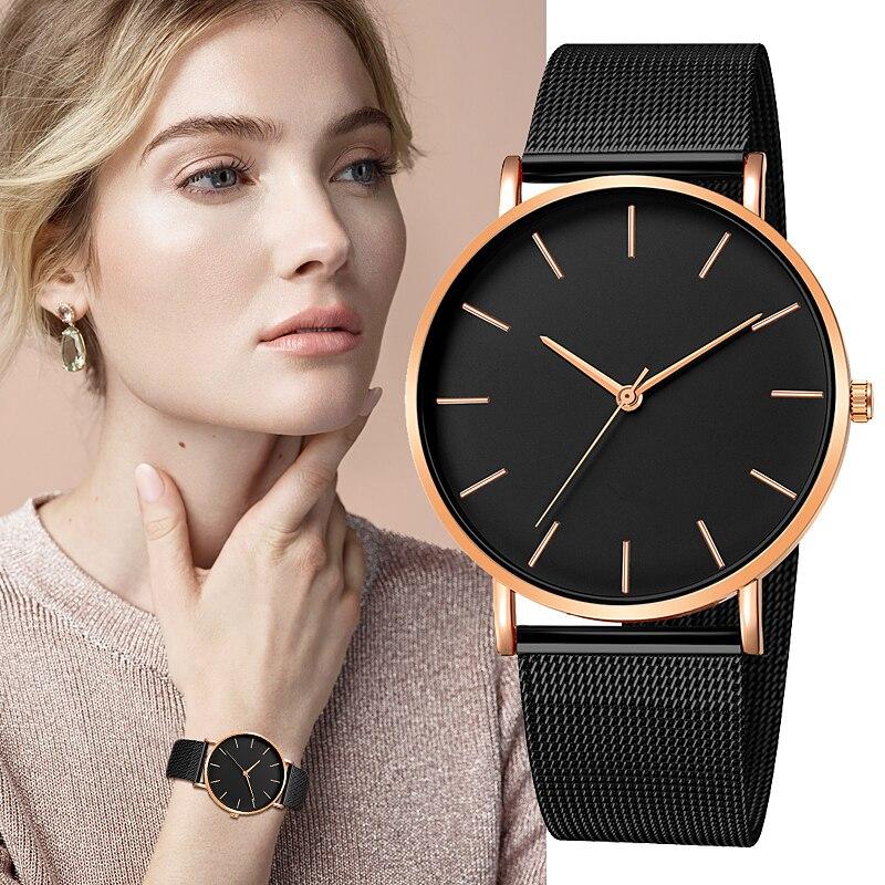 2020 موضة Reloj Mujer ساعة كوارتز ساعة يد بسيطة شبكة للسيدات الفولاذ المقاوم للصدأ الترفيه سوار ساعة معدنية ساعة Relogio