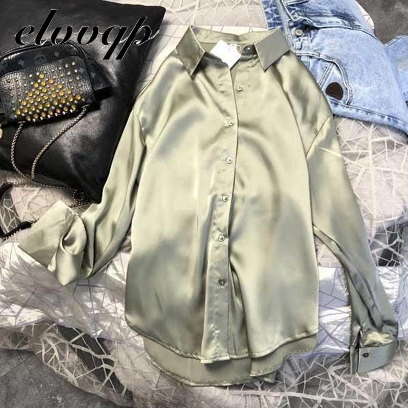 New Spring Autumn Women Fashion Long Sleeves Satin Blouse Vintage Femme Oversized Street Shirts Elegant Imitation Silk Blouse