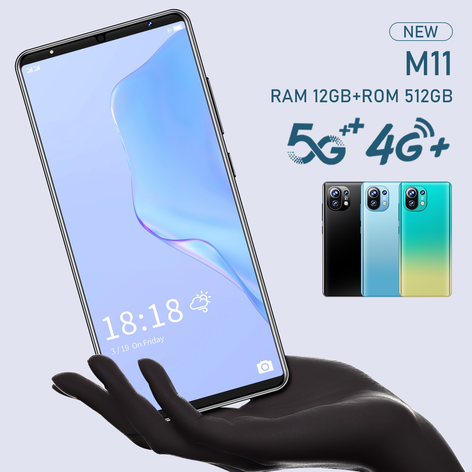 M11 MTK6889 Smartphone android (10 cores) 4G 5G Cheap Phone IPS Screen High-End Back Cover Unlocked cell phones 12GB+512GB