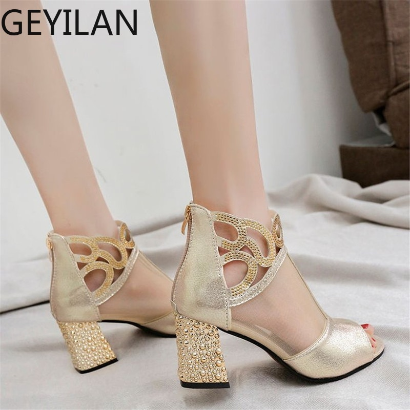 Sandalias de tacón alto Peep Toe Malla calada para mujer, zapatos de verano 2019, zapatos elegantes para mujer con diamantes, zapatos de tacón cuadrado ostentosos para mujer