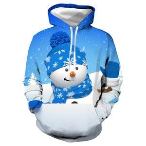 Unisex Blue Snowman Christmas 3D Digital Print Loose Hooded Sweater Pullover Women Men Xmas New Year Baseball Sweatshirt Hoodie