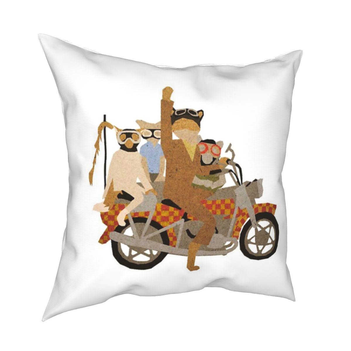 Fantastic Mr Fox Motorcycle Fox Pillowcase Printed Fabric Cushion Cover Decoration Throw Pillow Case Cover Home Zipper 40*40cm
