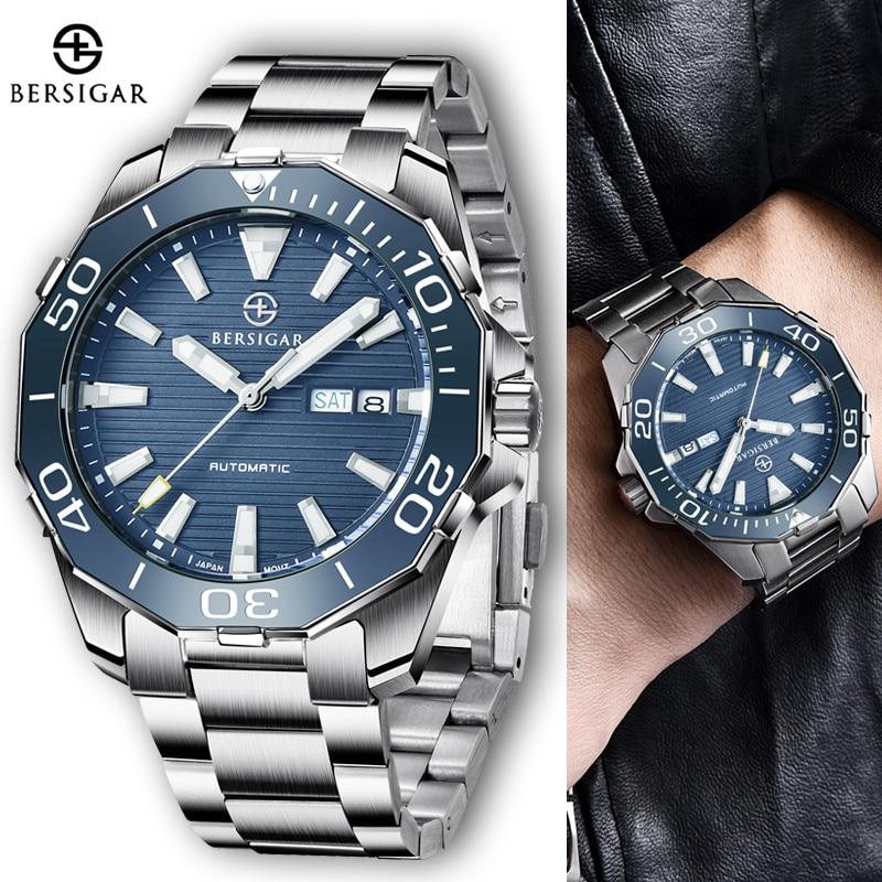 BERSIGAR التلقائي ساعة ميكانيكية الرياضة الأعمال المعصم Watch100M مقاوم للماء اليابان NH36 الفولاذ المقاوم للصدأ reloj hombre 2021 جديد