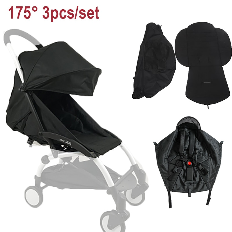 3pcs/set 175° Canopy Cover Cushion Stroller Accessories For Babyzen Yoyo Yoya Babytime Strollers Sunshade Seat Mattress Accessoy