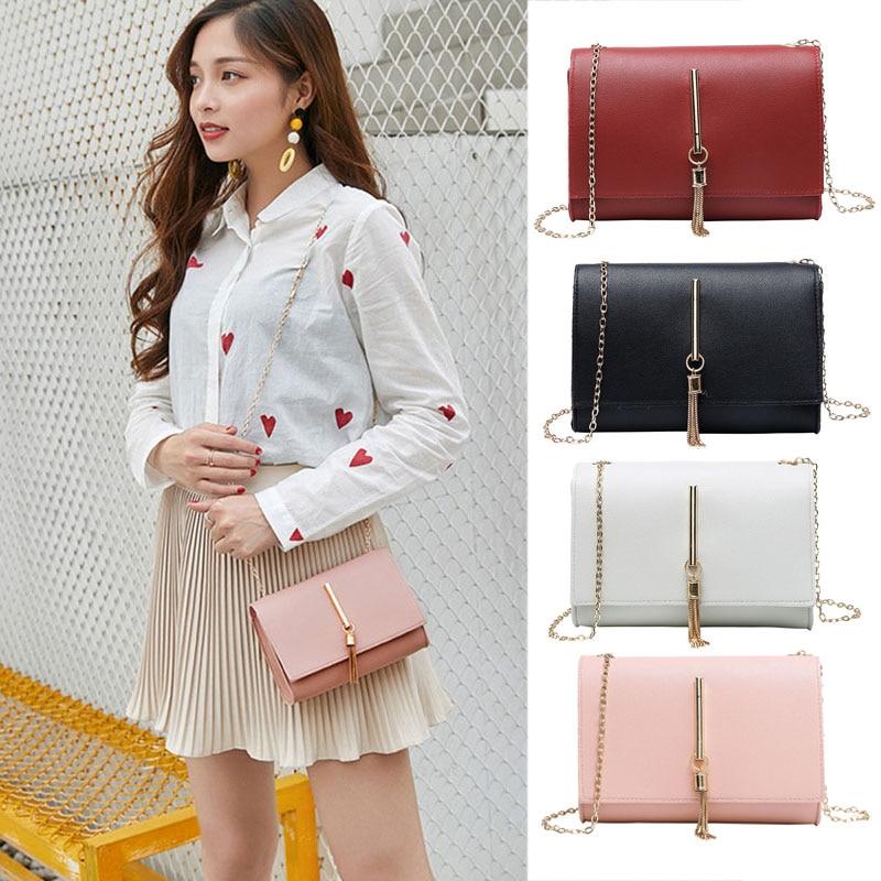 New Crossbody Single Shoulder Bag Iron Tassel Rectangle Handbag with Golden Chain Strap for Women SCI88