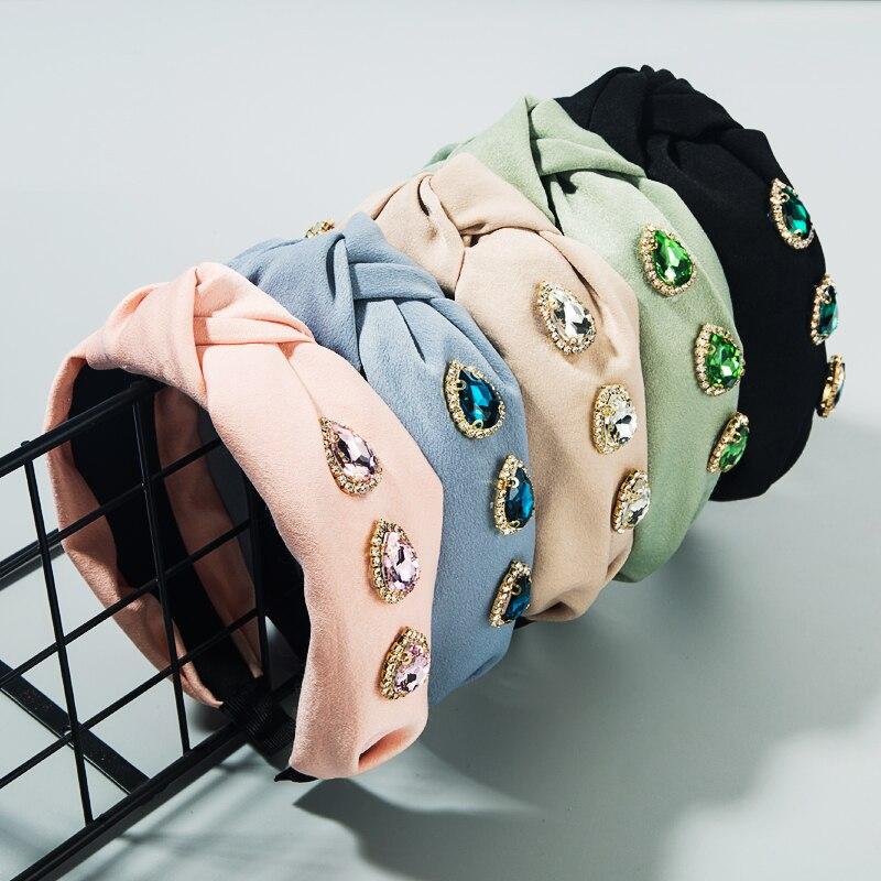 Diseño de verano Mujer turbante clásico Bowknot cristal diadema gotas de agua estilo retro cristal Color sólido diadema chicas fiesta Accessoy