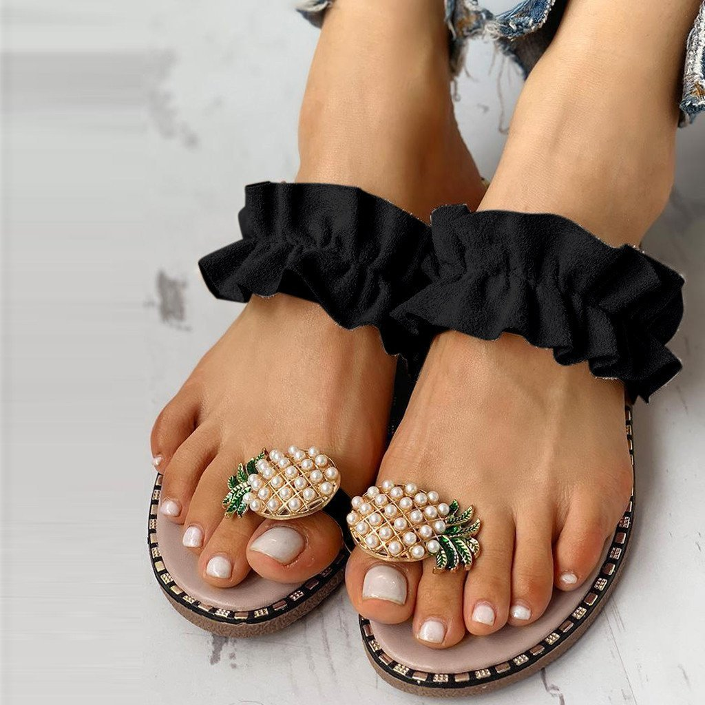 Women Sandals Flat Pineapple Lace Slipper Flip Flops String Bead Summer Fashion Wedges Woman Slides Lady Casual Mujer