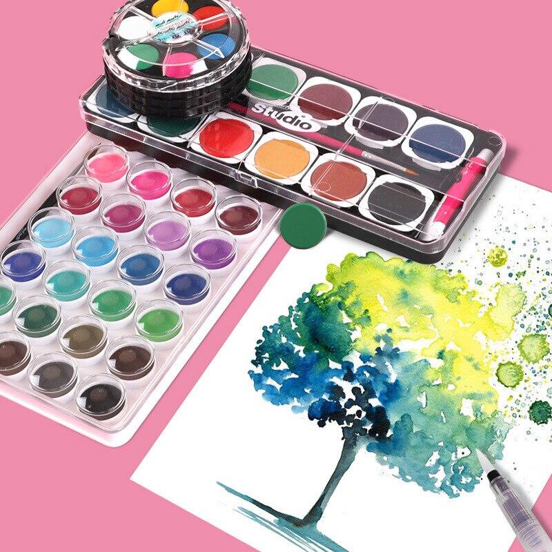 Gouache Paint Set Washable Children's Paint 12 Colors Painting Drawing Watercolor Coloring Toddler Education Art Solid Pigment