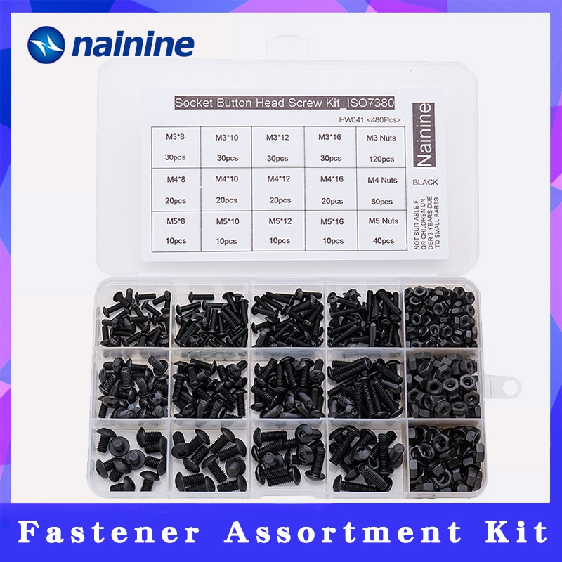 480 قطعة ISO7380 M3 M4 M5 سبائك الصلب 10.9 مستوى أسود سداسي المقبس زر رئيس المسمار غطاء أثاث سداسية مجموعة HW041