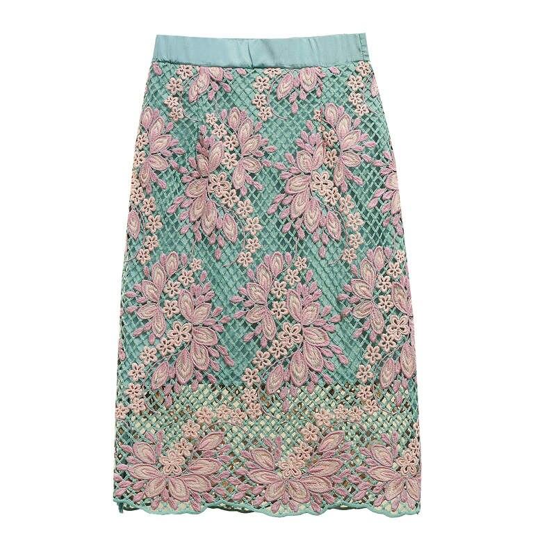 Fashion Elegant Flower Embroidery High Waist Skirt Women Spring Vintage Party Lace Skirts Womens Midi Sexy Bodycon Skirt C6058