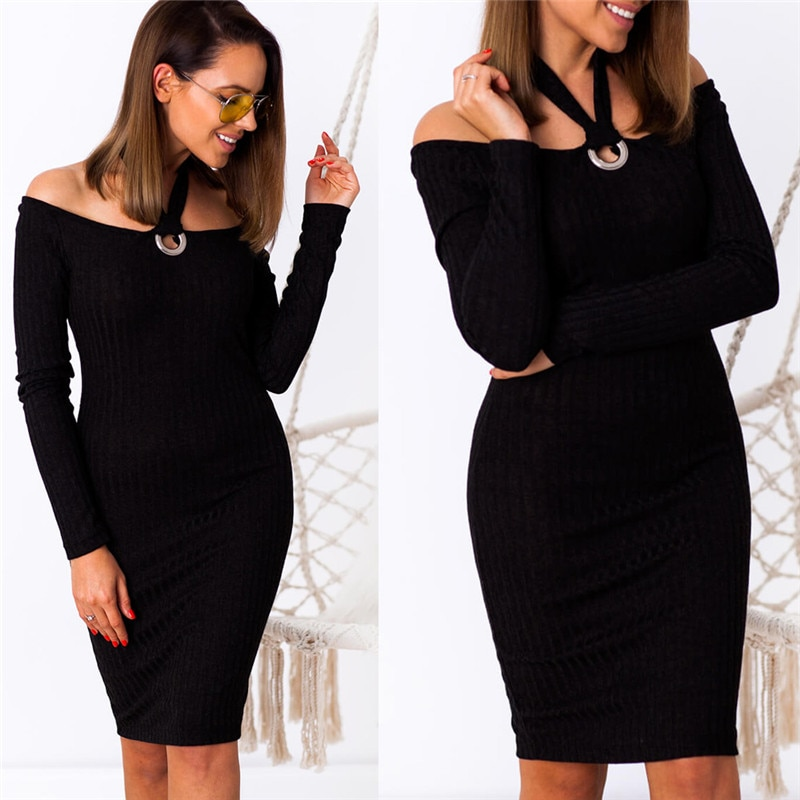Women Autumn Dress Sexy Halter One Shoulder Long Sleeve Dress Solid Color Slim Knee-Length Dress Office Lady Bodycon Dress