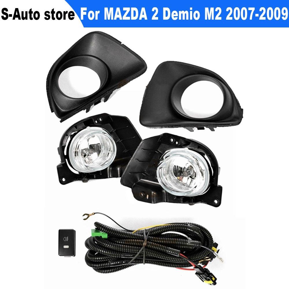 المصد الأمامي للسيارة الضباب مجموعة مصابيح الضباب مع الهالوجين H11 الأسلاك التبديل تسخير مجموعة لمازدا 2 Demio M2 2007 2008 2009