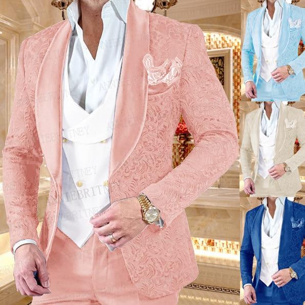جديد فاخر الرجال بدل زفاف الوردي 3 قطع مخصص العريس فستان بتصميم بدلة سهرة سليم صالح الجاكار السترة مزدوجة الصدر سترة مجموعة بناطيل رجالي