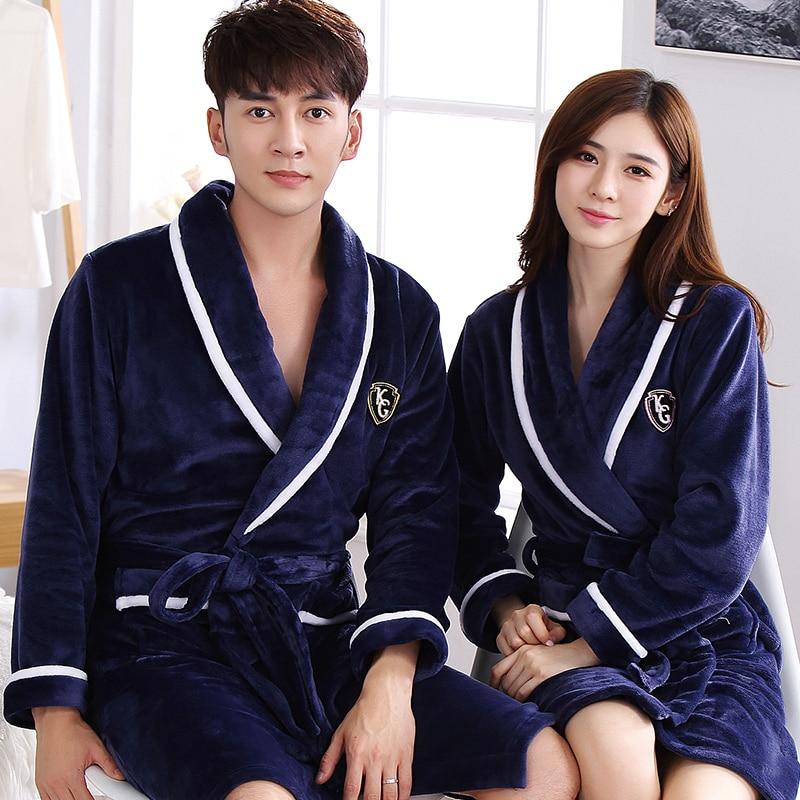 Мужская зимняя плотная Теплая Флисовая одежда кораллового цвета, кимоно для влюбленных пар, фланелевая ночная рубашка, ночная рубашка, женс...