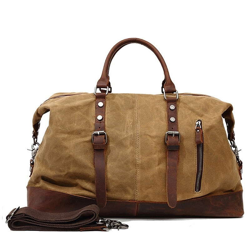 Waxed Canvas+Genuine leather Travel Bags Men Travel Handbag Large Capacity Vintage Style Crazy Horse Leather Travel Duffel Bag