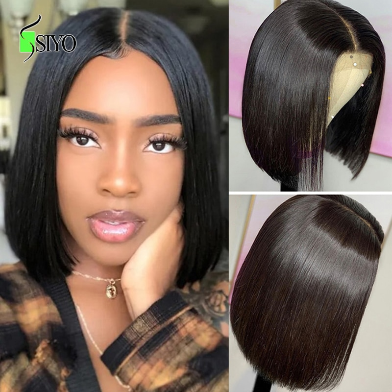 Siyo Straight Bob Wig 4x4 Lace Closure Human Hair Wigs 100% Malaysian Remy Bob Wig for Black Women Short Bob Lace Wigs