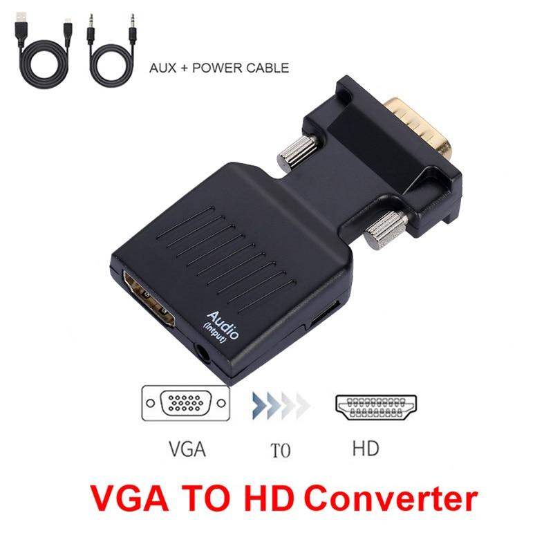 Adaptador convertidor VGA a HDMI, compatible con HD 1080P, adaptador VGA para...