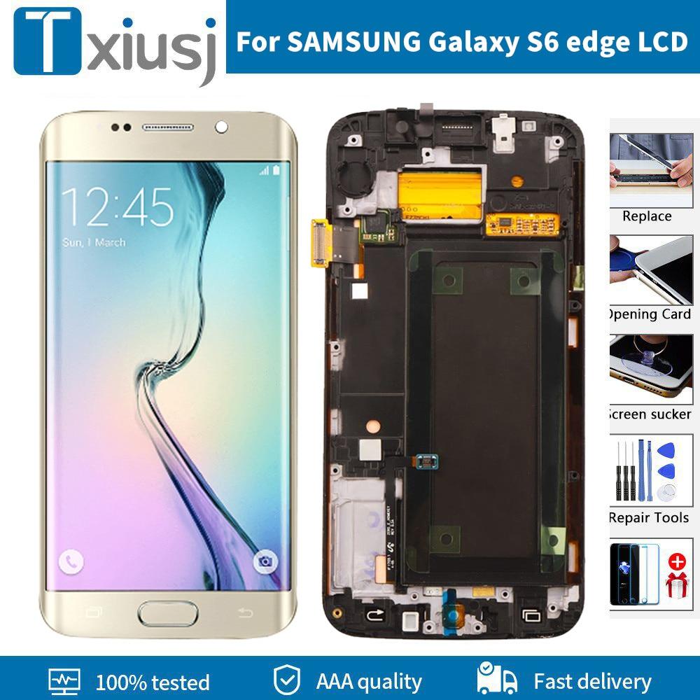 AMOLED عرض لسامسونج غالاكسي S6 حافة استبدال LCD مع الإطار G925 G925I G925F شاشة تعمل باللمس إصلاح أجزاء مع حرق الظل