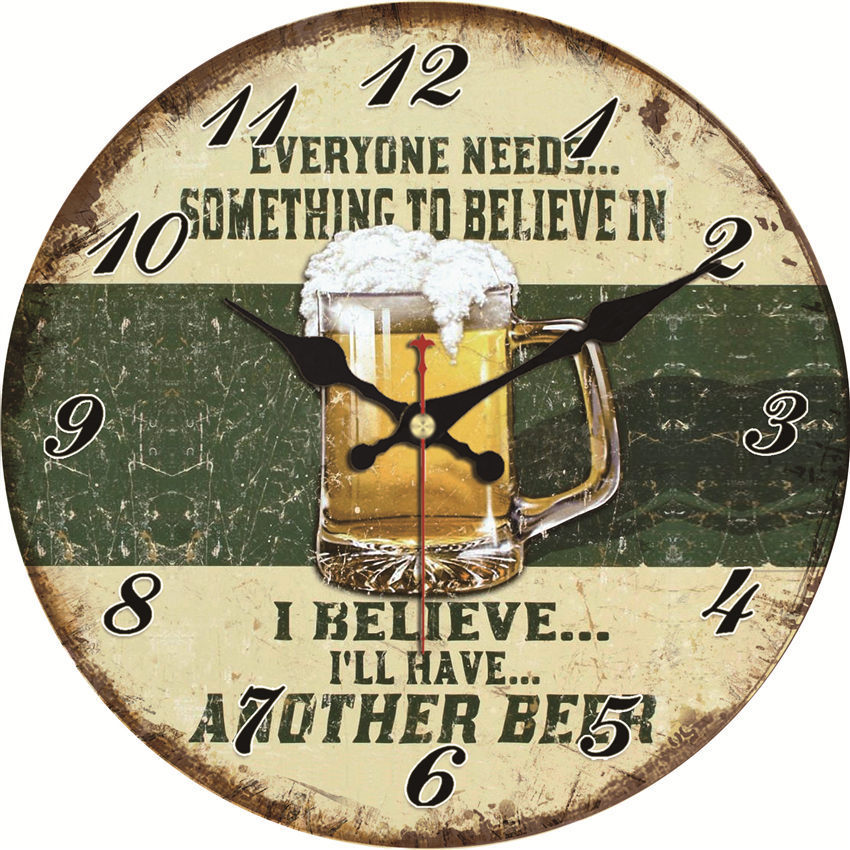 Reloj de pared de estilo Retro de cerveza, reloj de pared colgante de Metal decorativo redondo antiguo con tapa de botella de cerveza grande para hombre, reloj de sala de juegos