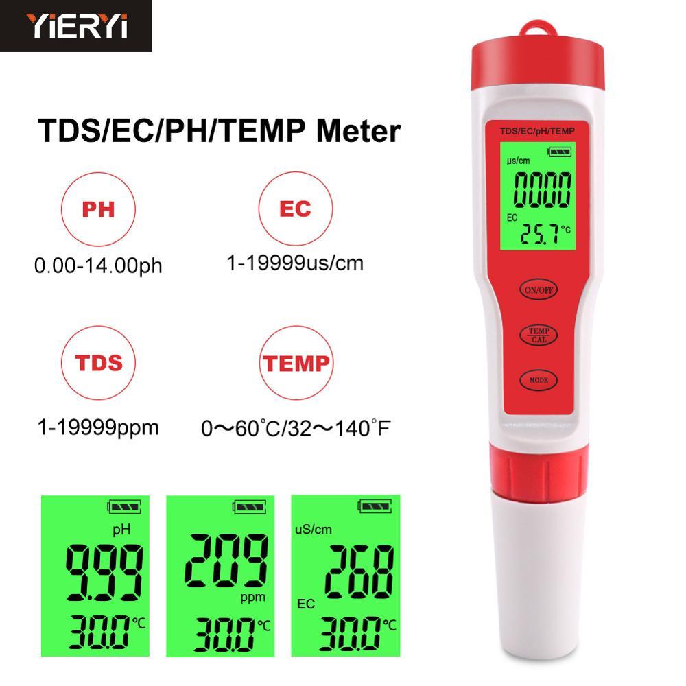 Medidor Digital de temperatura 4 en 1 PH/TDS/EC de YIERYI, medidor de calidad del agua para piscinas, agua potable, acuarios