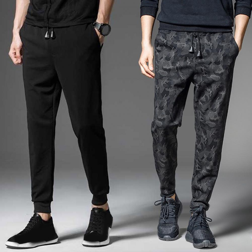 Men Fashion Autumn Drawstring Thick Casual Warm Pants Camouflage Ankle Tied Sweatpants Trousers Plus Size For Male