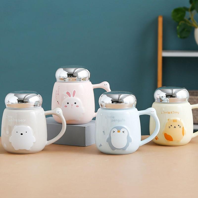 Caneca de café animal de estimação bonito animal em relevo cerâmica canecas café da manhã copos de leite presente do estudante copo de café r2032