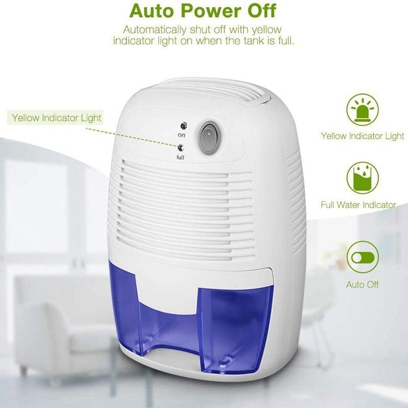 مزيل رطوبة صغير USB المحمولة مجفف هواء التبريد الكهربائي مع 500 مللي خزان المياه للمنزل غرفة نوم المطبخ مكتب سيارة