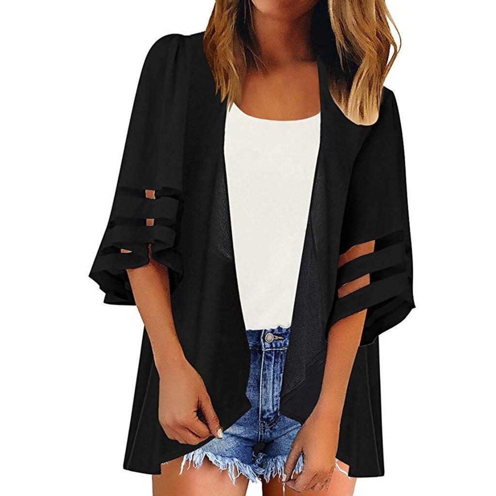 Abrigos y chaquetas Mujer verano Panel de malla 3/4 manga de campana Color puro de gasa informal suelto Kimono Cardigan chaqueta femenina
