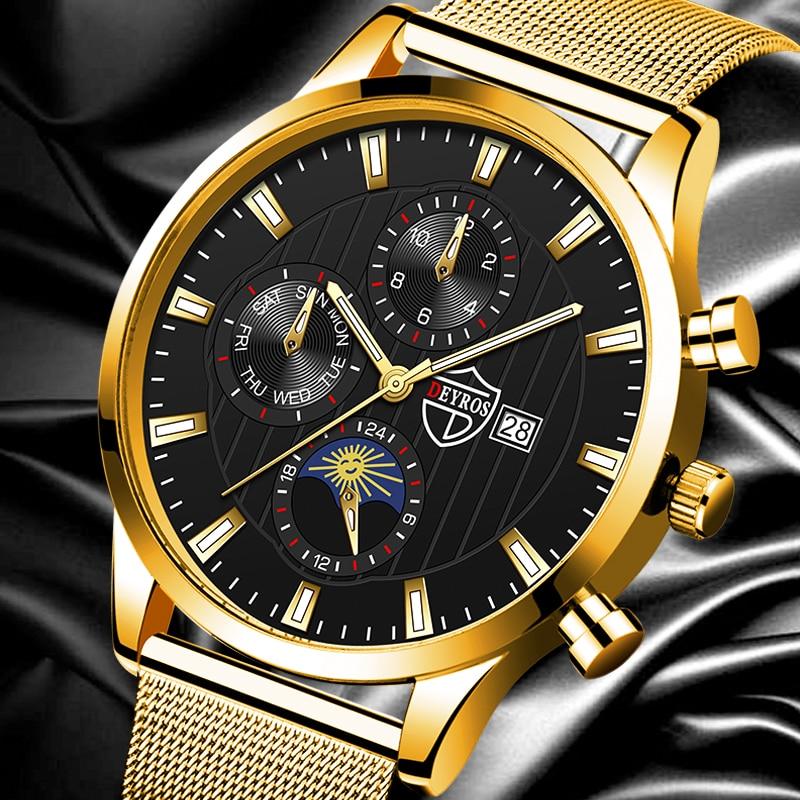 Fashion Mens Watches Luxury Gold Stainless Steel Mesh Belt Quartz Watch Men Business Casual Luminous
