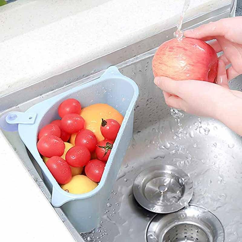 Kitchen Sink Basket Triangular Multifunctional Drain Storage Racks Holder Hanging Shelf Soap Box Organizer Fruits and Vegetables