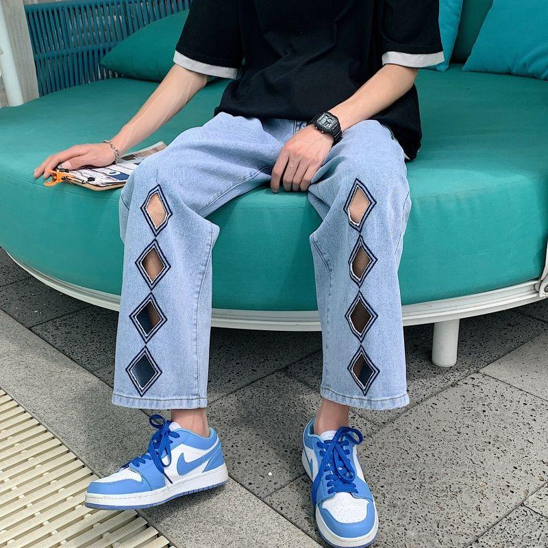 Рваные джинсы в форме алмазов мужские Модные джинсы в Корейском стиле мужские Свободные повседневные джинсы Мужская Уличная одежда прямые ...