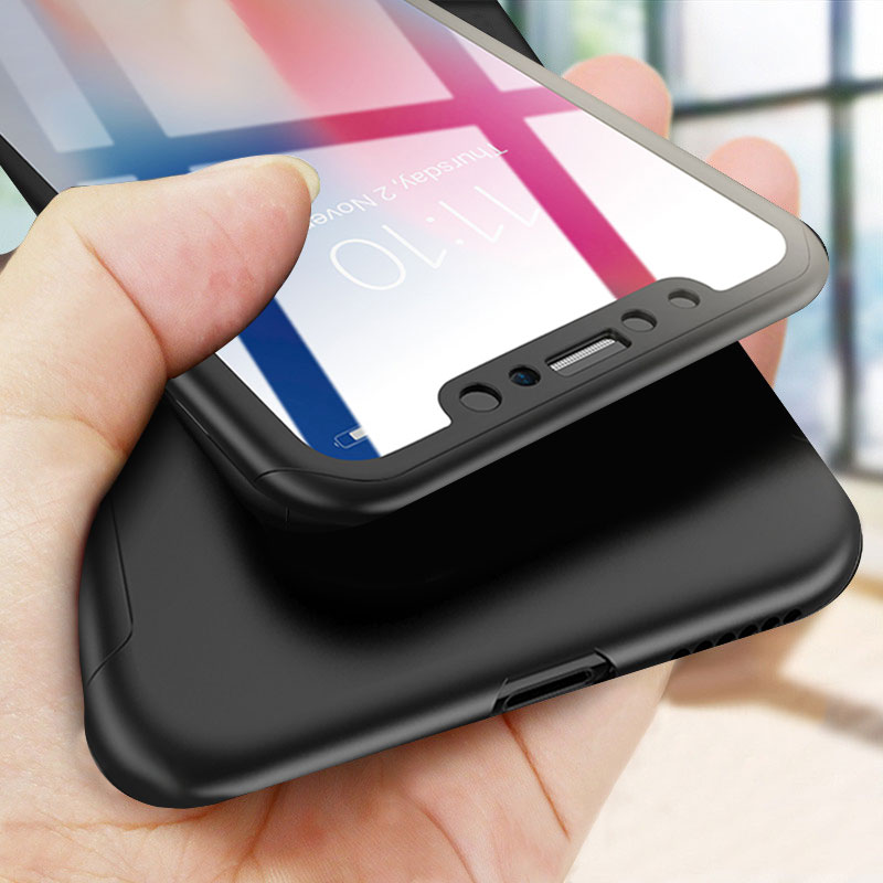 360 capa completa caso do telefone para o iphone 11 pro max x xr xs max capa protetora para o iphone 6 s 7 8 plus 5 5S se 11 caso com vidro