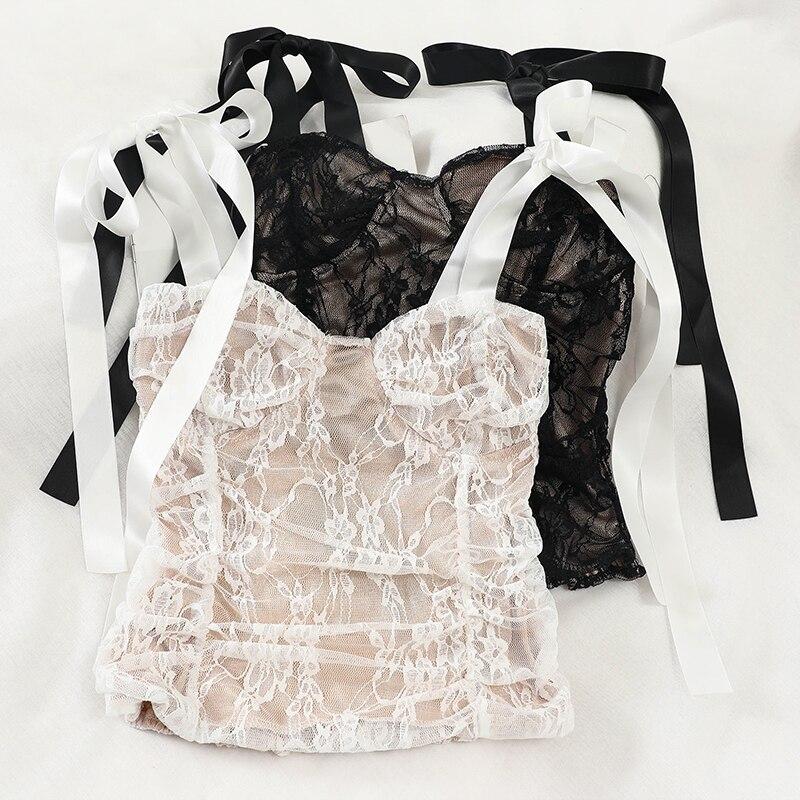 Camiseta de Moda de Primavera 2020 para mujer, camiseta delgada de encaje con cintas de lazo sexi para mujer