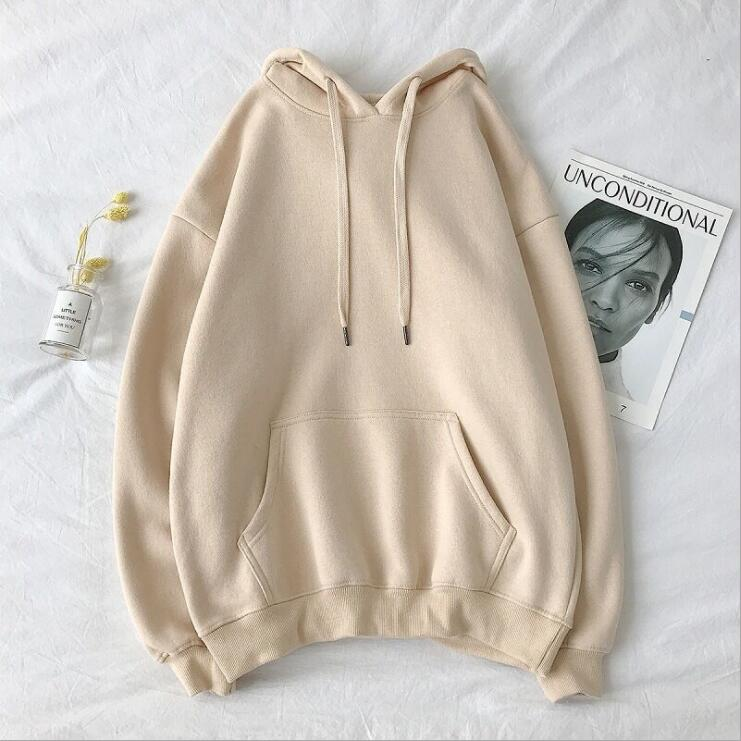 Woman's Sweatshirts Solid 12 Colors Korean Female Hooded Pullovers 2021 Cotton Thicken Warm Oversize