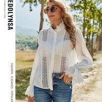 2021 spring new hollow lace blouse flare sleeve white striped shirt elegant office lady blouse solid tops womens clothing y92