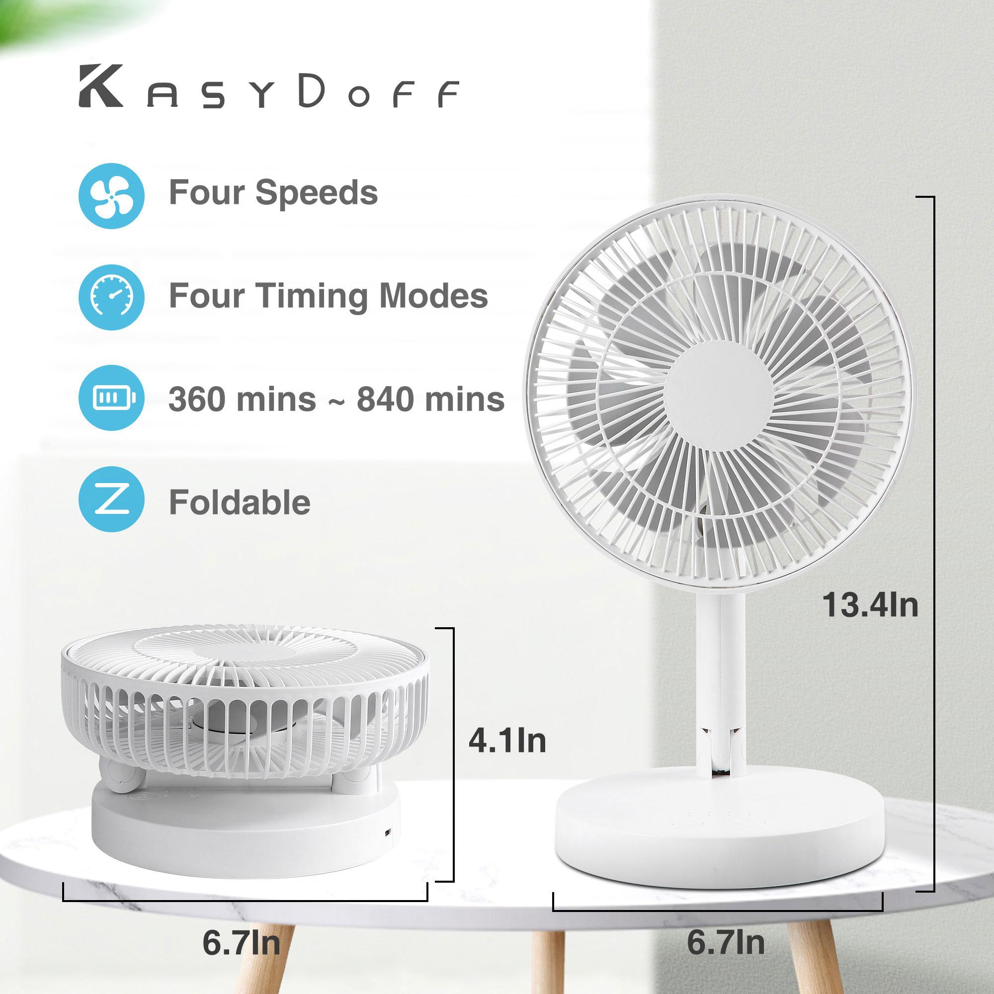 KASYDoFF USB قابل لإعادة الشحن مروحة مكتب ، 7200mAh المحمولة خلاط قائم صغير مروحة التبريد مروحة صغيرة قابلة للطي لمكتب المنزل مكتب وغرفة نوم