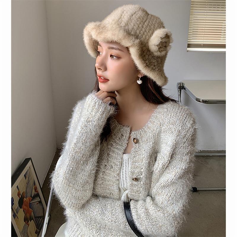 2021 New Fashion Winter Women's Mink Fur Bucket Hat Woven Mink Soft Warm Fishing Hat Outdoor Vacation Girl Hat