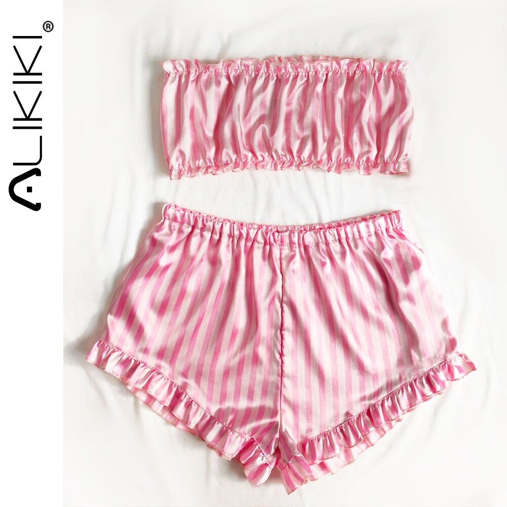 AliExpress - Women 2pcs Pink Pajamas Tube Top Shorts Set Sleeveless Satin Silk Pajama Set Cute Sleepwear Ladies Pjs Home Suit Pj Para Mujer