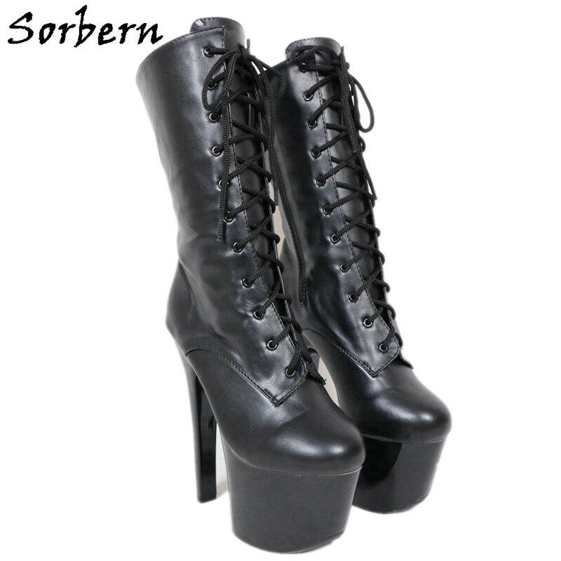 Botas de tacón alto de 17Cm de Sorbern zapatos de baile de plataforma de Mujer Zapatos de bailarina exótica zapatos de tacones interior fetiche