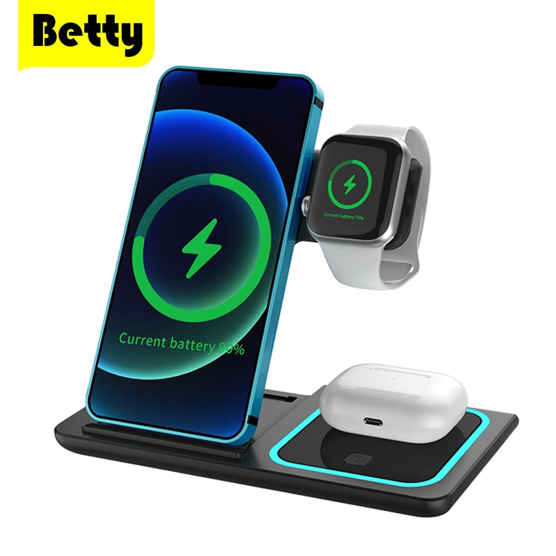 Betty Wireless Charger Station Charging Dock Fold Bracket Adapter Stand Airpods Pro Watch Headset Wi