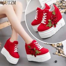 Dames chic plate-forme sneaker avec grande fleur style britannique femmes rouge pointu sneaker haute qualité fille mode toile chaussures V7