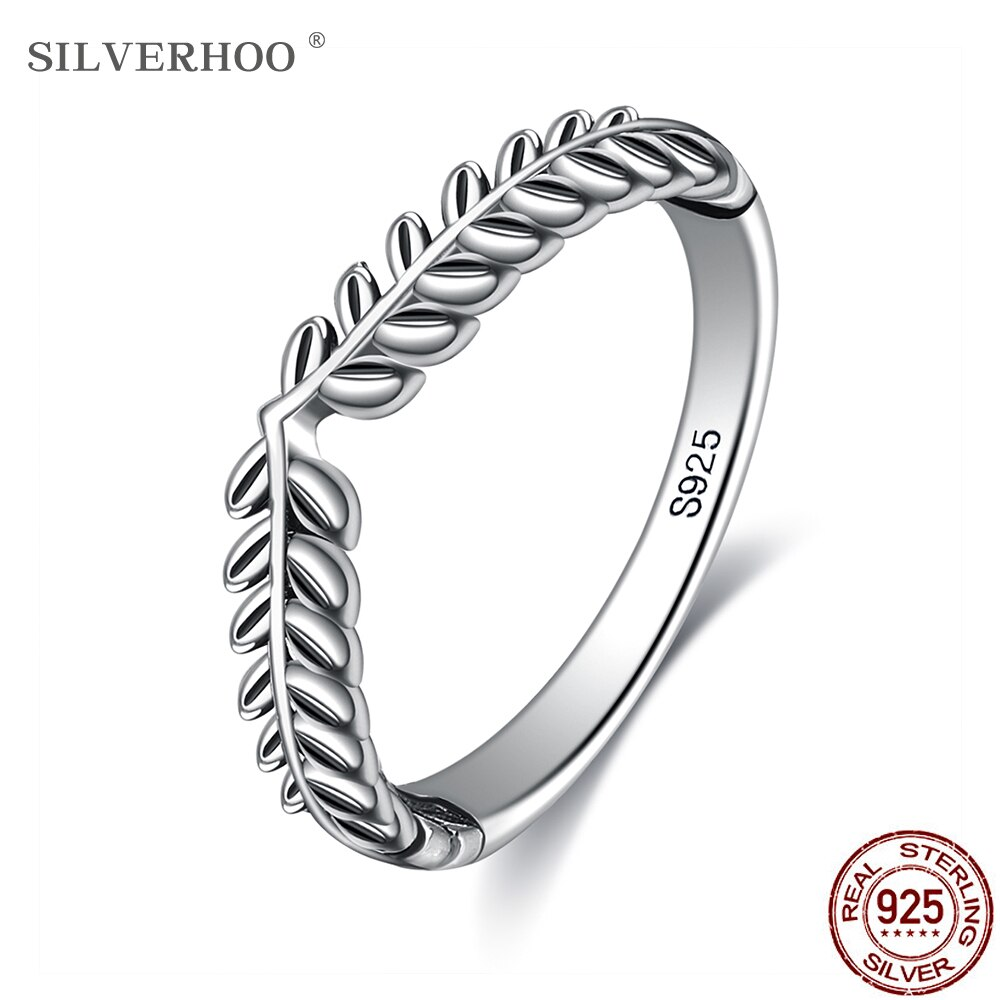SILVERHOO Genuine 925 Sterling Silver Rings For Women Classic Stackable Vintage Lucky Leaf Finger Ring Anniversary Jewelry Gift