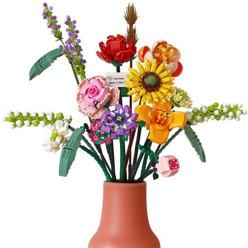 Цветочный букет Fomantic, строительные блоки, кирпичи, Аниме фигурки, игрушки, набор по цене друзей, подарок для девушки, подруги, имитация розы