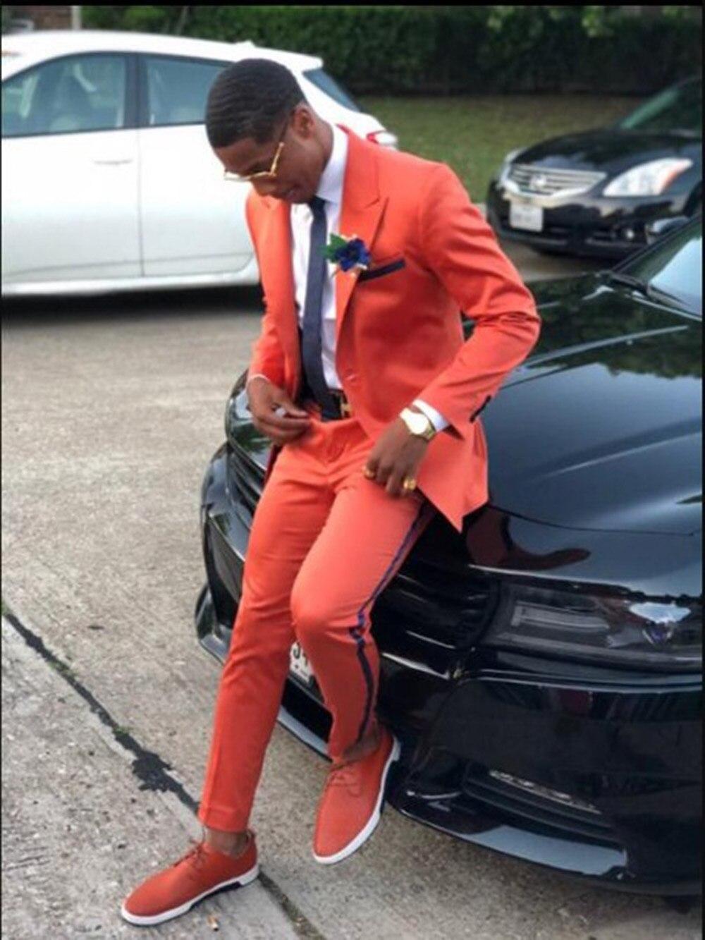 2019 New Oragne Man's Suit 2 Pieces Notch Lapel Tuxedos Flat Groomsmen Blazer For Wedding (Blazer+vest+Pants) notch collar pleated panel blazer