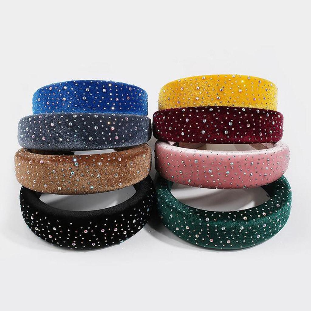 Diadema de esponja ancha acolchada coreana con diamantes de imitación para mujer, diadema de terciopelo con purpurina de Color dulce, diadema elástica para el pelo para fiesta z0926