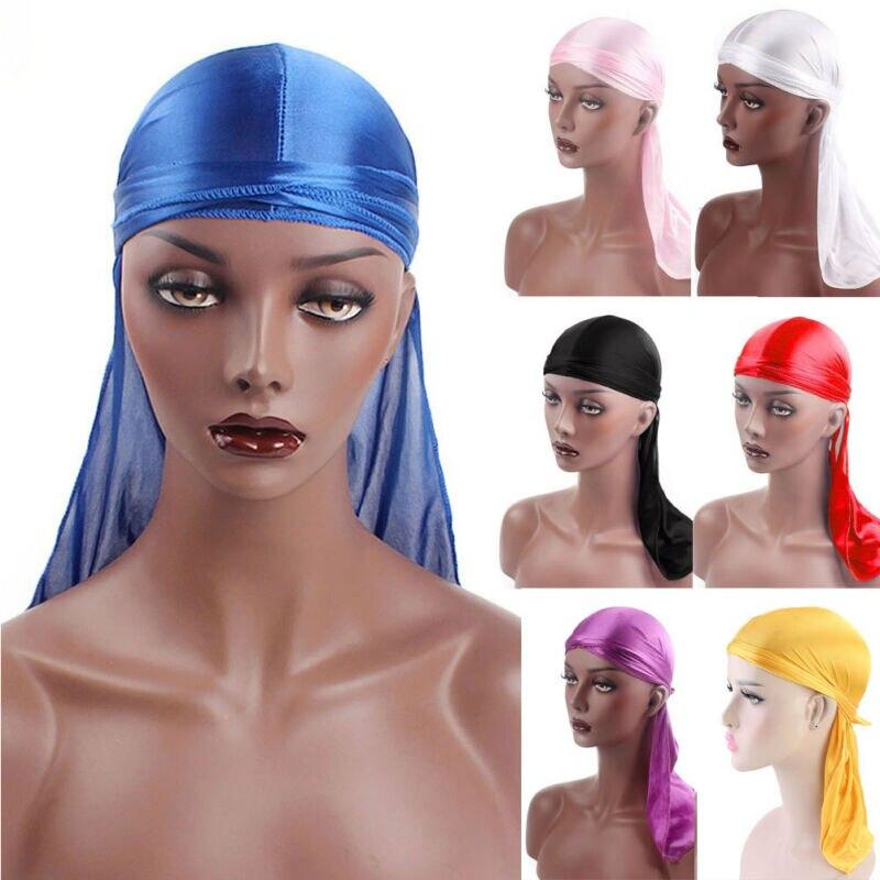Mais cor unissex masculino feminino bandana durag headwear macio seda pirata boné envoltório 2019 novo