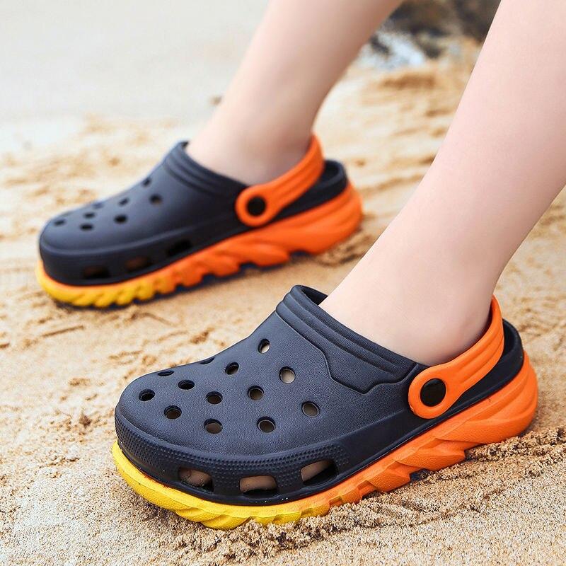 Садовые сабо, Детская двухцветная обувь, детские сабо с регулируемым ремешком, сандалии для мальчиков и девочек, пляжная обувь унисекс, сандалии Мюли и сабо    АлиЭкспресс