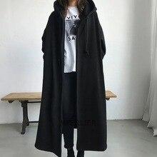 Size  6XL 150kg Women Trench Coats Without Zipper Black Color Winter Female Fleece Coat Open Stitch